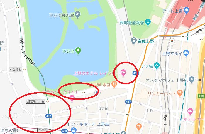 上野駅周辺のラブホテルマップ
