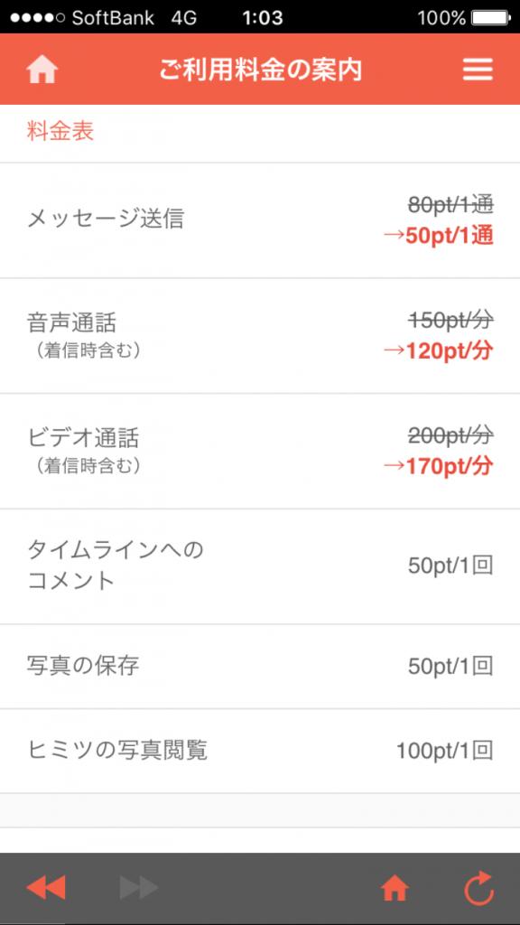 アプリの「SWITCH」料金表