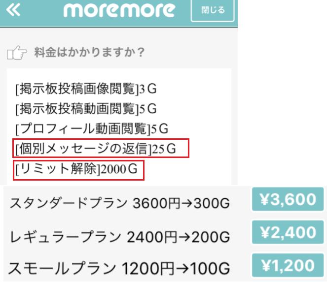 マッチングアプリNo1☆「moremoreモアモア」料金体系