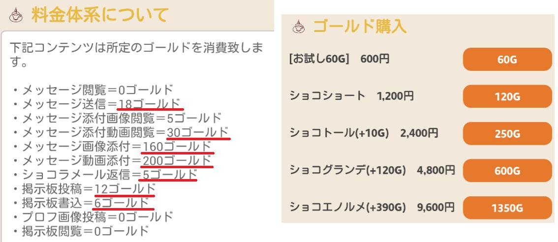 出合い探しの決定版~ショコラティエ♪料金体系