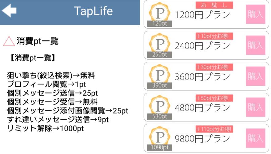 TapLife-SNSチャットアプリ料金体系