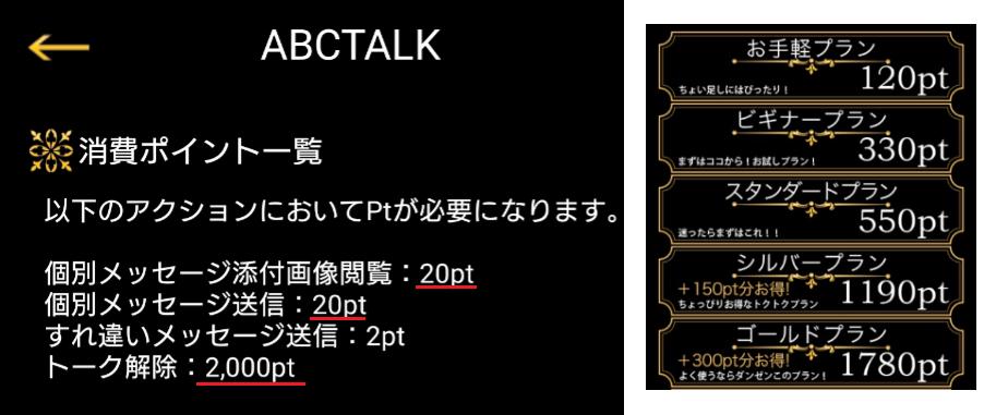 サクラ詐欺出会い系アプリ「ABCTALK」料金体系