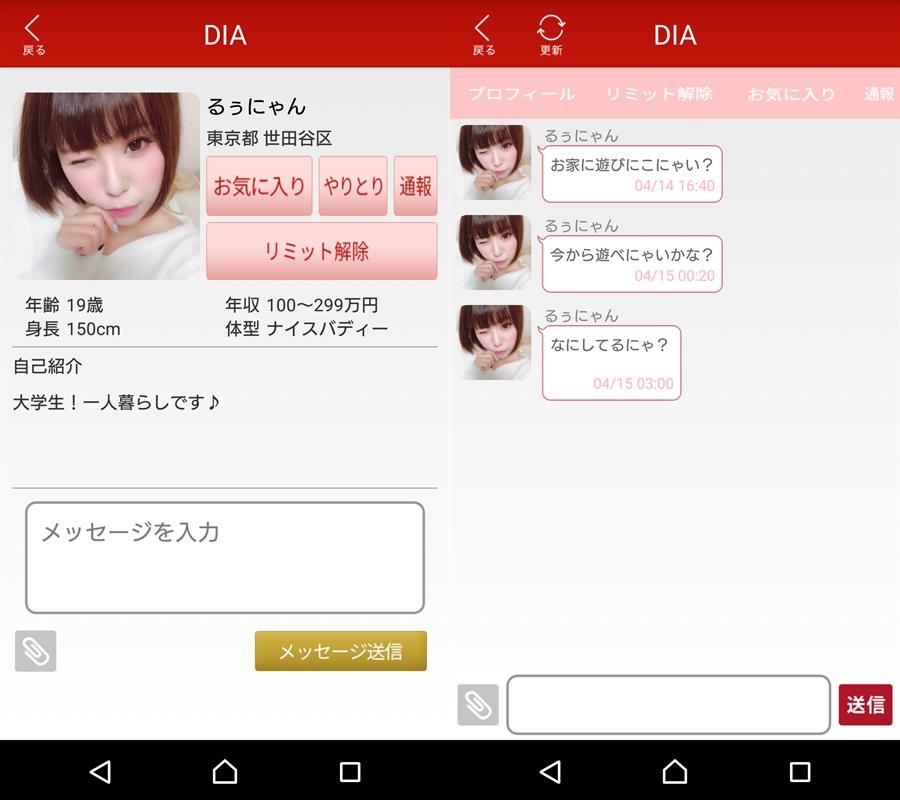悪質サクラ詐欺出会い系アプリ「DIA」サクラのるぅにゃん