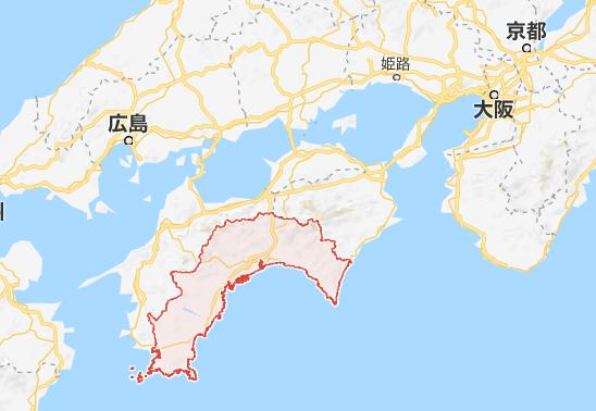 高知県の全体地図