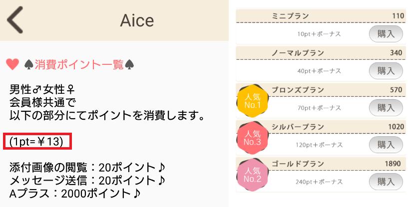 サクラ詐欺出会い系アプリ「Aice」料金体系