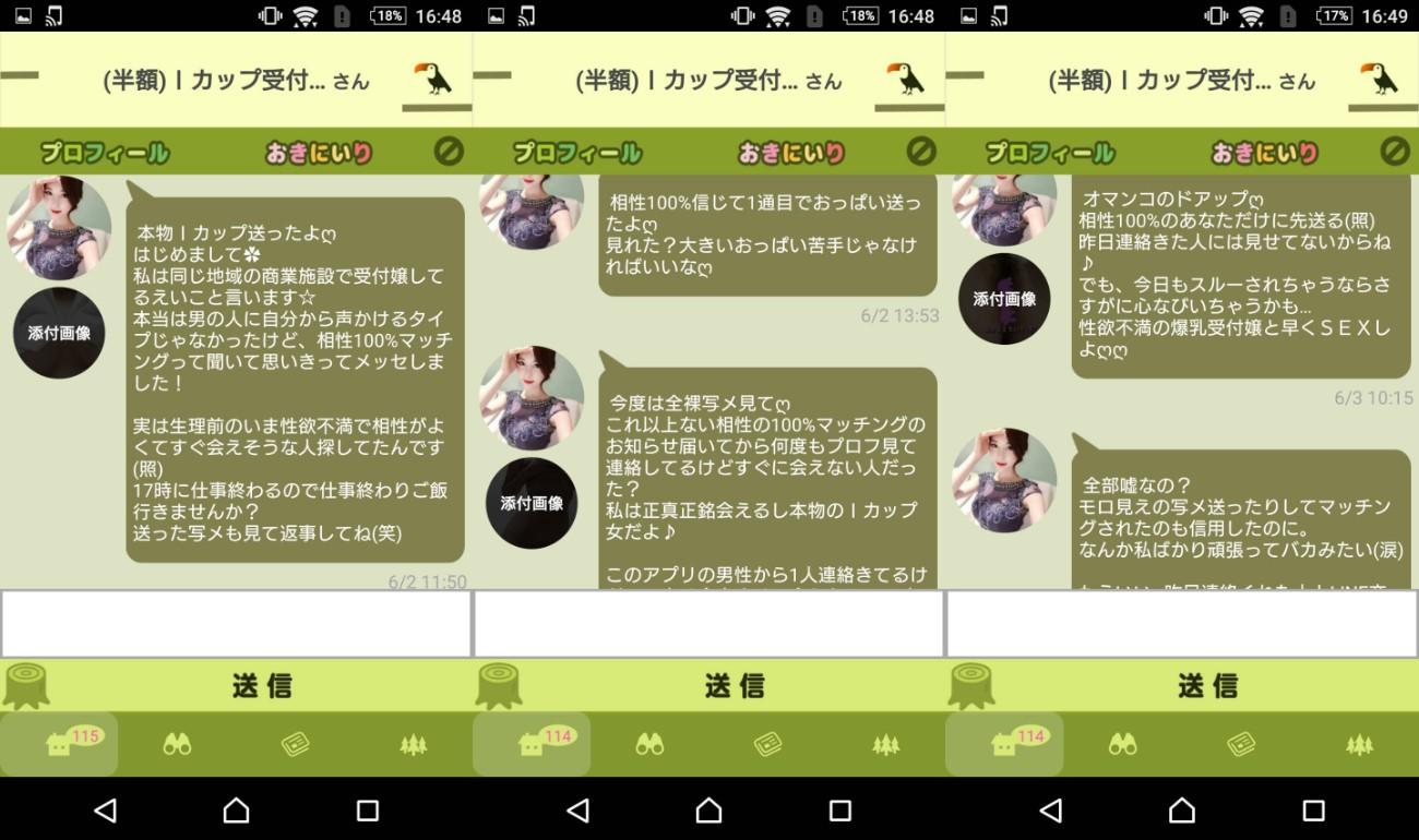 サクラ詐欺出会い系アプリ「翠 -midori-」サクラのIカップ受付嬢