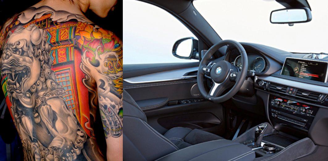 タトゥーの男と高級車